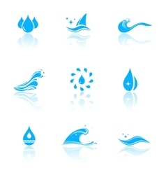 Water icons with reflection vector
