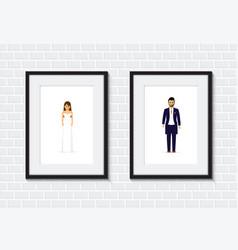 Wedding couple photo frame vector