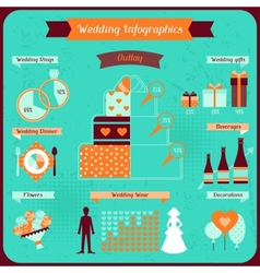 Wedding infographics in retro style vector