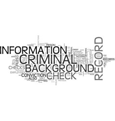 what shows up on a criminal record background vector image