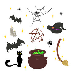 Wicca wichcraft set vector