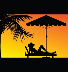 Woman relax under the palm in colorful vector