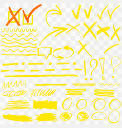 Yellow highlighter marker strokes vector