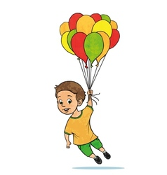 Young boy flying with balloons Cartoon vector image