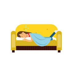 Young woman sleeping on the sofa under blanket vector
