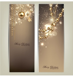 Elegant christmas banners with golden baubles and vector image