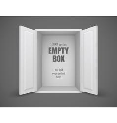 Empty box with open doors vector image vector image