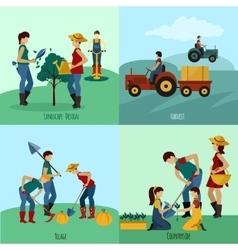 Gardening People Flat Set vector image vector image