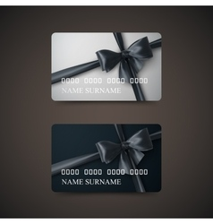 Gift Cards With Black Bow And Ribbon vector image vector image