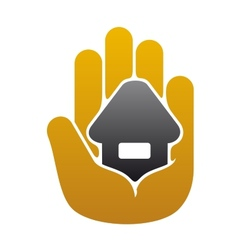Little house in people hand vector image vector image