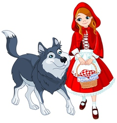 Little red riding hood and wolf vector image vector image