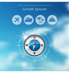 Travel brochure cover design with compass icon vector