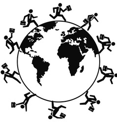 business people running around the world vector image vector image
