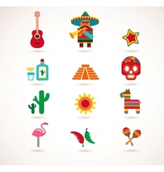 Mexico love - set of icons vector image vector image