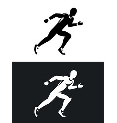 muscular sprinter runner set black and white vector image