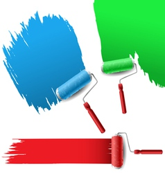 Painting roller set for text background vector image vector image