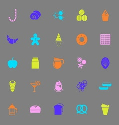 Sweet food color icons on gray background vector image vector image