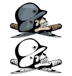 two skulls in military helmets vector image