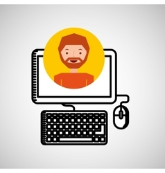 charatcer hand draw computer icon graphic vector image vector image