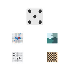 flat icon play set of chess table gomoku jigsaw vector image