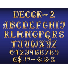 Golden vintage decorative english alphabet vector image