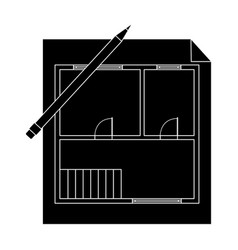 house planrealtor single icon in black style vector image vector image