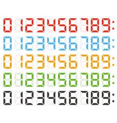 set of digital numbers led clock numbers vector image