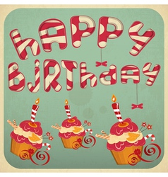 Vintage birthday card with Cakes vector image vector image