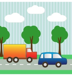 Background with car and truck for scrapbook vector image
