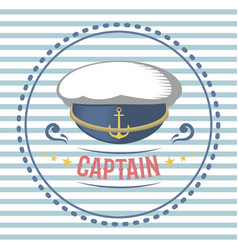 captain hat nautical and marine sailing themed vector image vector image