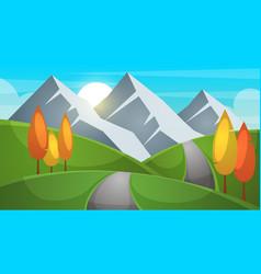 cartoon landscape mountain firr cloud sun vector image vector image