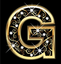 G gold letter with swirly ornaments vector image