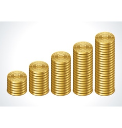 Graph from dollars money coins vector image vector image