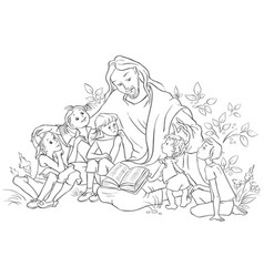 Jesus reading the bible to children coloring page vector