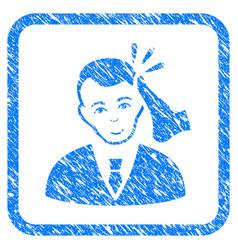 Kickboxer victim framed stamp vector