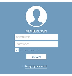 memeber login page template blue vector image