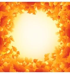 Orange autumn leaves frame design EPS 8 vector image