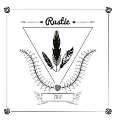 rustic card greeting feather leaves ribbon vector image