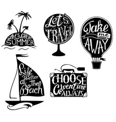 travel quotes and sayings typography set vector image