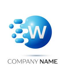 W letter splash logo blue dots and circle bubble vector