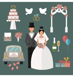 Wedding couple and icons cartoon style vector image