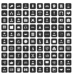 100 intelligent icons set black vector