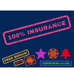 100 Percent Insurance Rubber Stamp vector