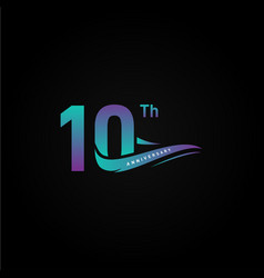 10th ribbon anniversary gradient numbers for vector