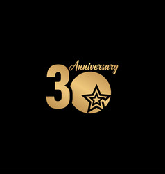 30 years anniversary celebration star gold logo vector