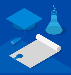 3d graduation cap certificate and flask vector