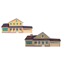 Abandoned old house and new cottage vector