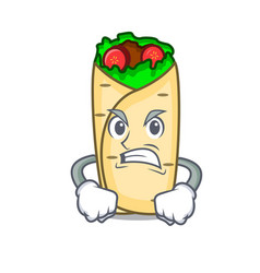 angry burrito mascot cartoon style vector image