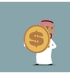 Arabian businessman carrying a golden dollar coin vector image