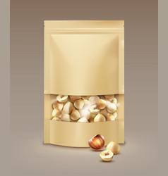bag full hazelnuts vector image